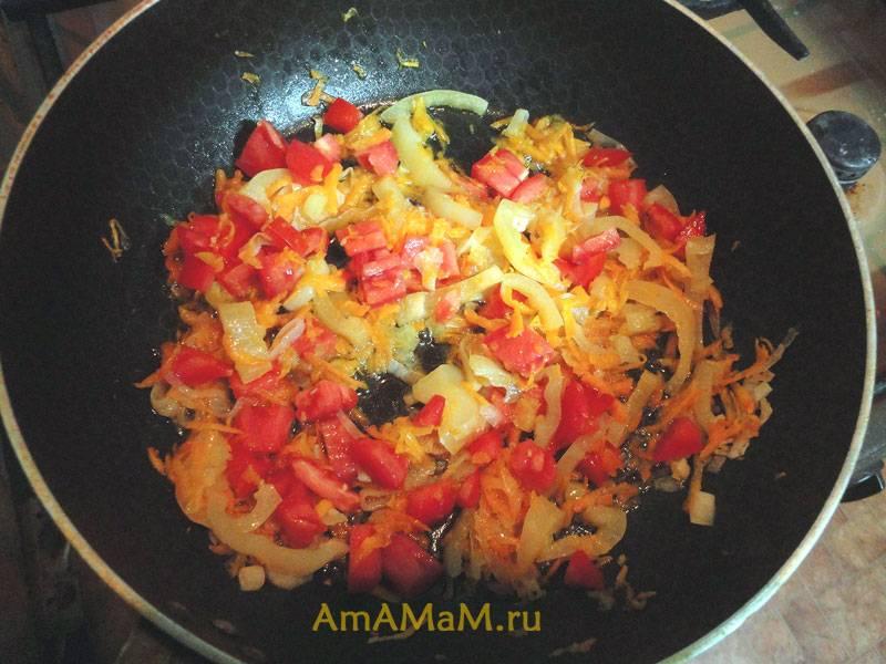 Рецепт риса с шампиньонами на сковороде