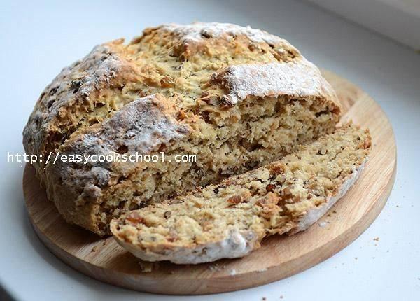 Быстрый бездрожжевой хлеб на кефире с травами