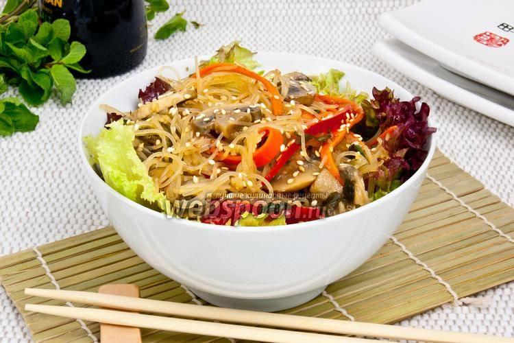 Очень вкусная фунчоза с грибами и овощами: рекомендуем
