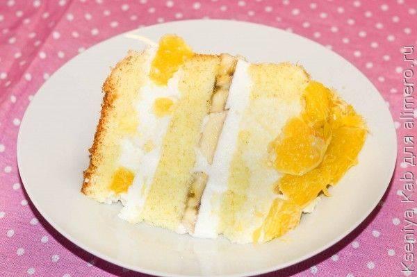 Апельсиново-банановый бисквитный торт