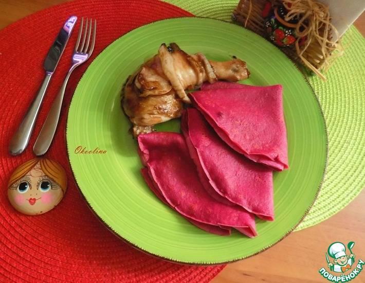Яичные блины с начинкой из куриной грудки и овощей