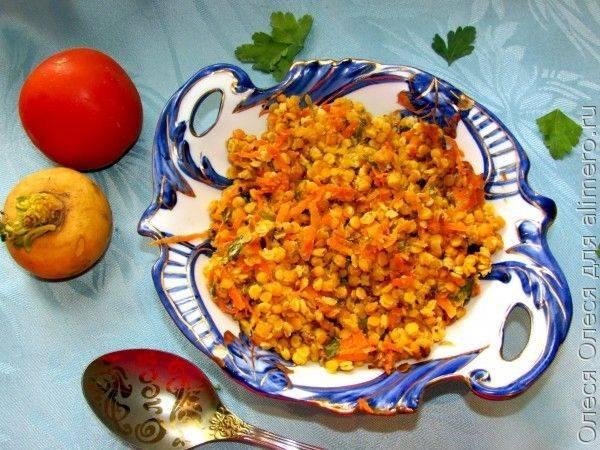 Чечевица с овощами, запеченная в пергаменте