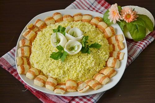 Оригинальный рецепт салата «подсолнух» с шпротами