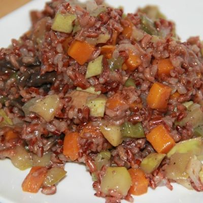 Кулинария мастер-класс рецепт кулинарный красный рис с овощами постное блюдо продукты пищевые