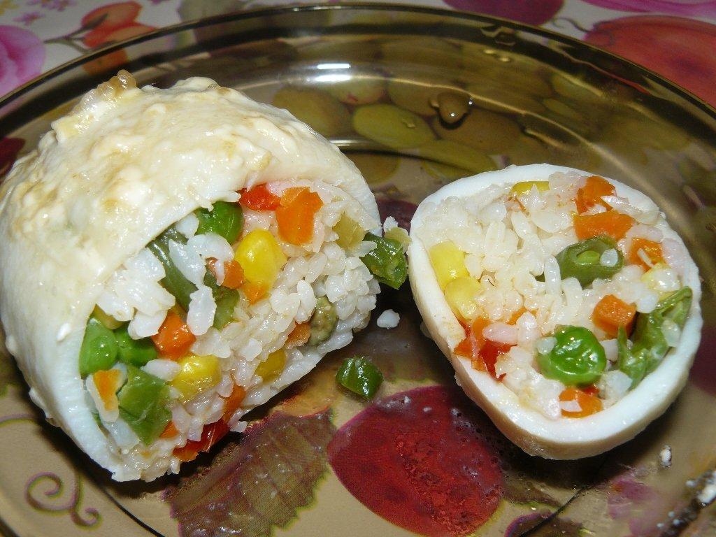 Рецепт риса с кальмарами и яйцом