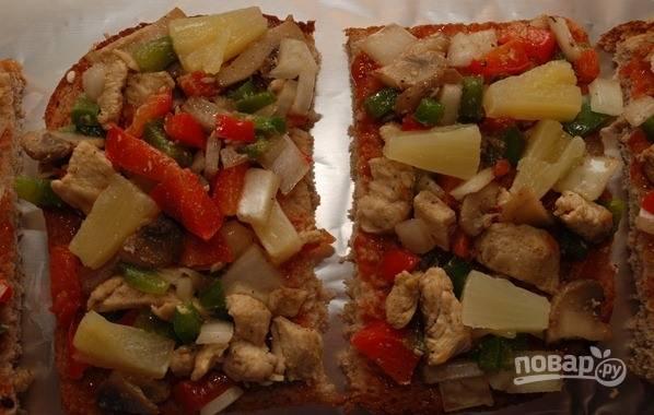 А-ля пицца быстрая на черном хлебе