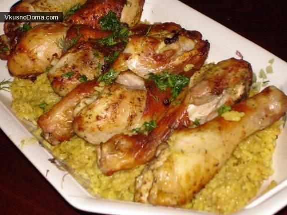 Запеченная курица с рисом и овощами
