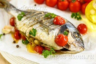 Дорадо с овощами. рыба на подушке из овощей