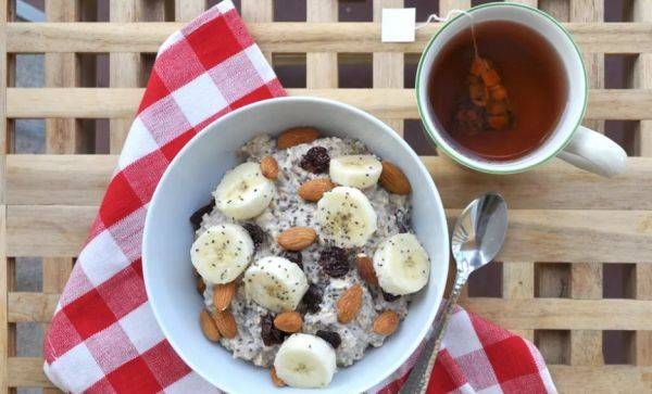 Идеальный завтрак - овсянка с чиа и бананом