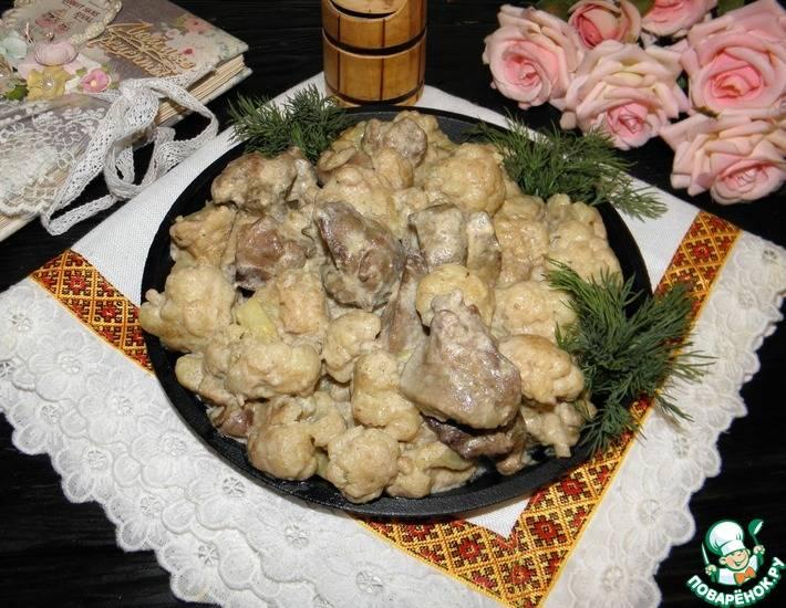Куриная печень с капустой в мультиварке - 9 пошаговых фото в рецепте