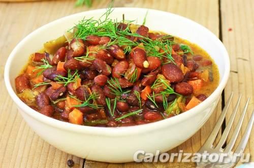 Тушеная фасоль — рагу с луком и свежими томатами - рецепты джуренко