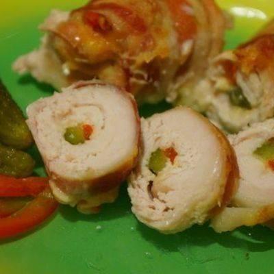 Рыба, запечeнная с беконом и сыром