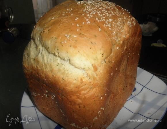 Хлеб с отрубями, чесноком и укропом