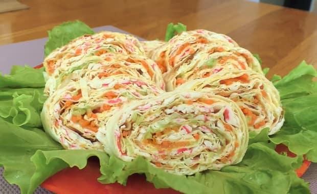 Как сделать рулет из лаваш с корейской морковкой по пошаговому рецепту с фото