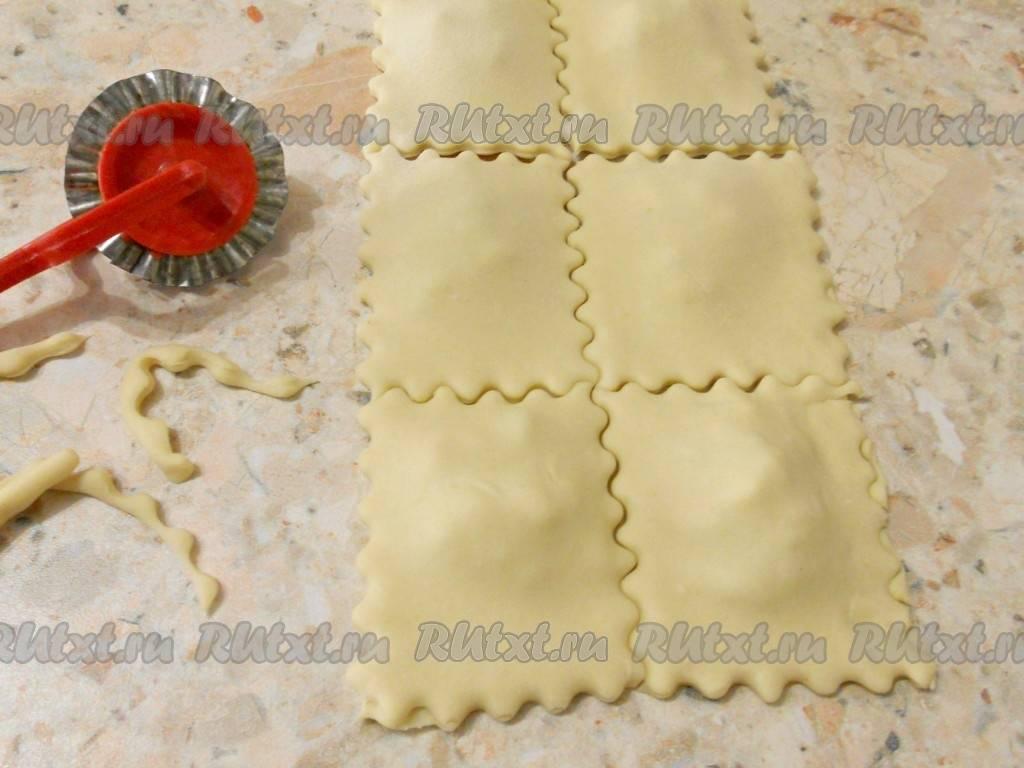 Рецепт приготовления равиоли с сыром и курицей