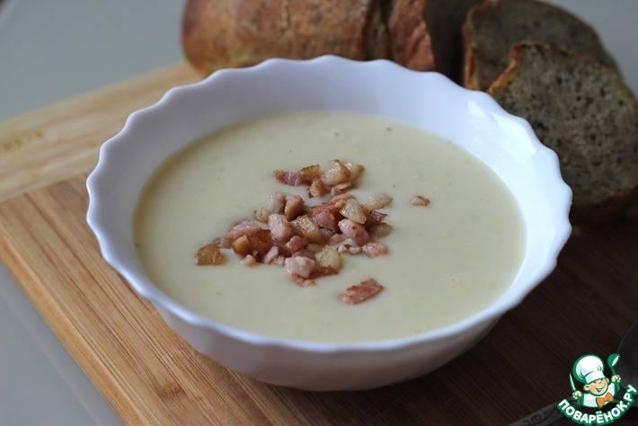 Суп-пюре картофельный с горошком и беконом простой домашний рецепт пошагово с фото