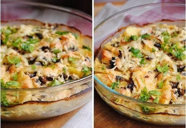 Картофельные тарталетки с грибами салат