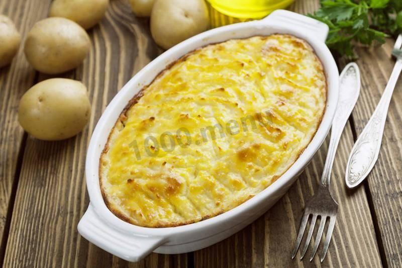 Картофельное пюре с чесноком, запечённое в духовке