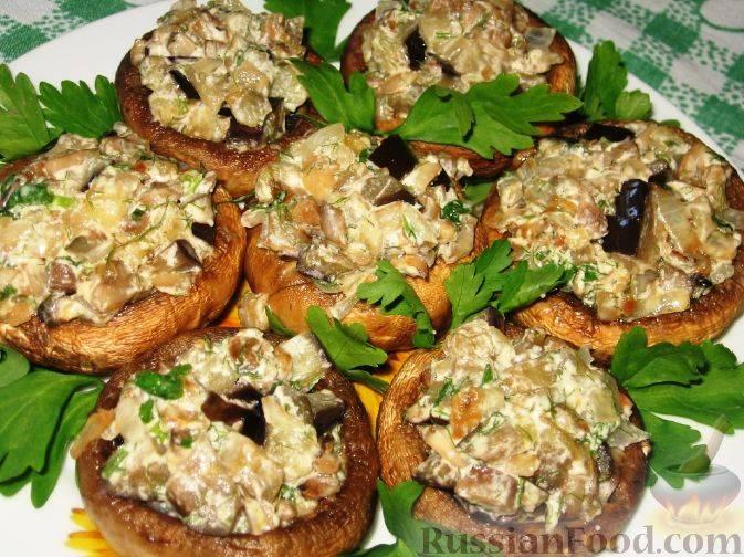 Фаршированные шампиньоны в духовке с сыром – 10 пошаговых рецептов