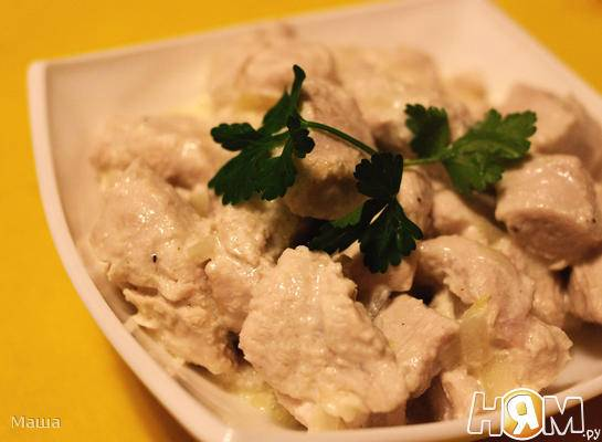 Куриная грудка тушеная в сметане рецепт с фото