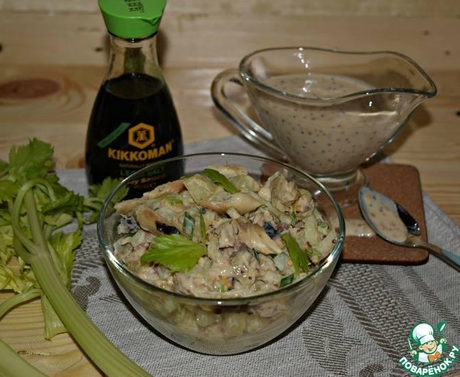 Салат из копченой скумбрии с картофелем, помидорами, зеленым горошком