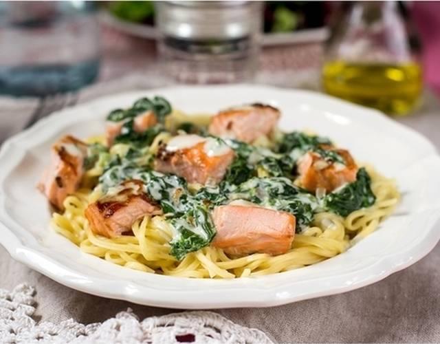 Паста с лососем в сливочном соусе, рецепт с фото — объясняем обстоятельно