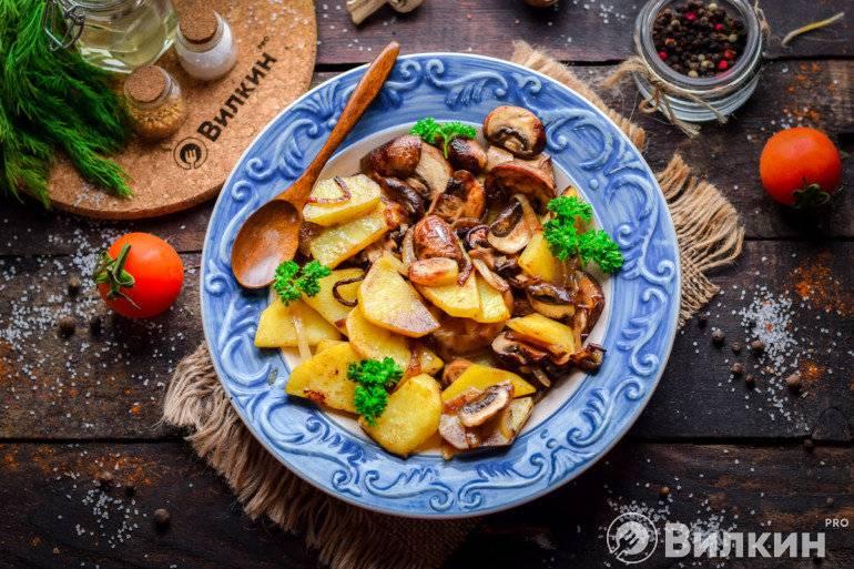 Жареная картошка с шампиньонами и луком. пошаговый рецепт с фото