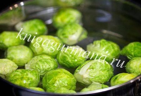 Брюссельская капуста в горчично-сметанном соусе
