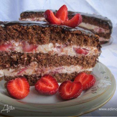 Клубнично-шоколадный торт - пошаговый рецепт с фото на повар.ру