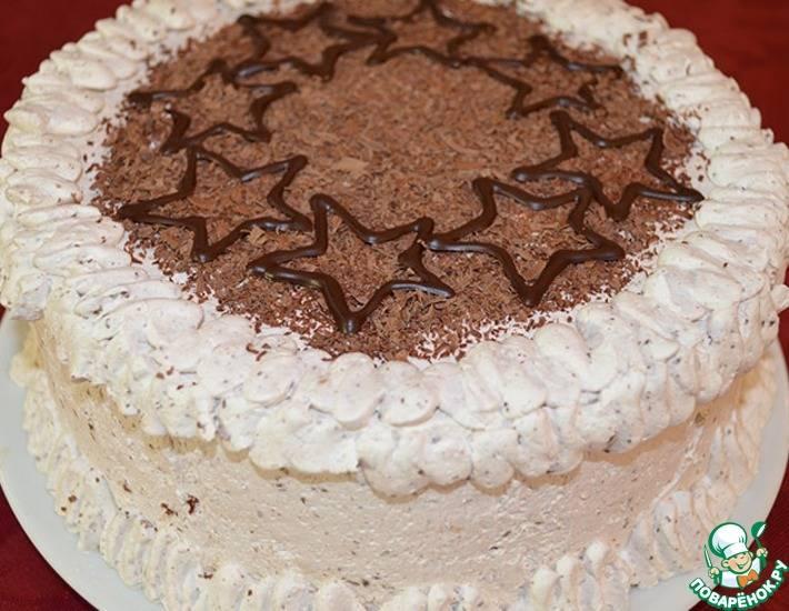 Бисквитный торт с кремом из сливок