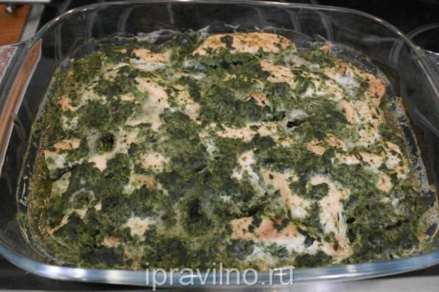 Салат с куриным филе и шпинатом