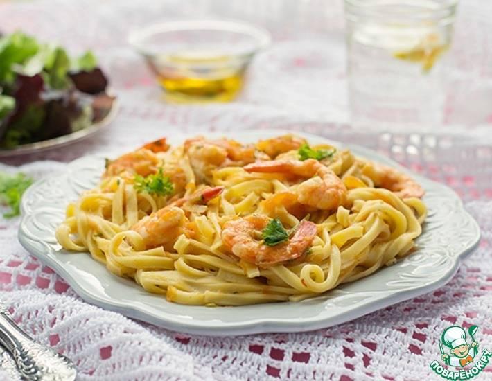 Паста с креветками в сливочном соусе - рецепты соусов с чесноком, сыром, томатом для черных спагетти и других макарон