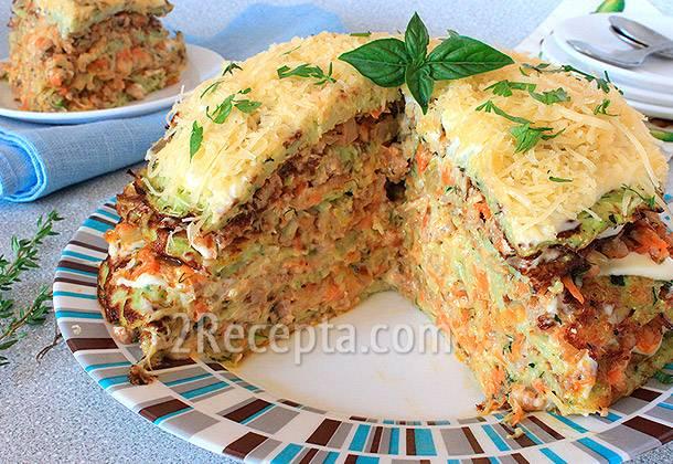 Торт из кабачков с плавленным сыром