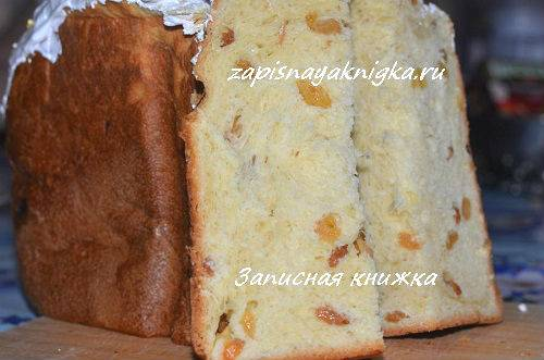 Кулич с изюмом в хлебопечке: рецепт с  фото