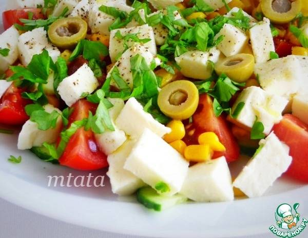 Овощной салат с моцареллой и оригинальной заправкой