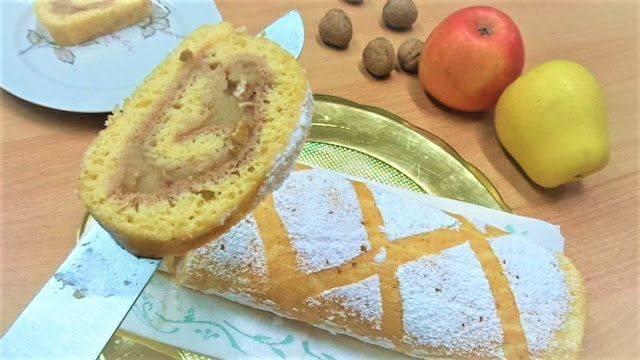 Бисквитный рулет с яблоками, рецепт как приготовить рулет с яблочной начинкой
