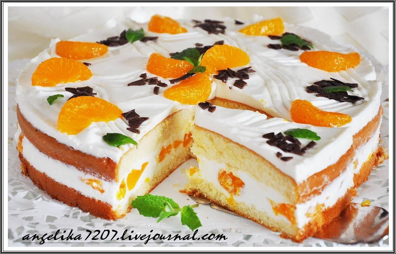 Бисквитный торт с персиками!