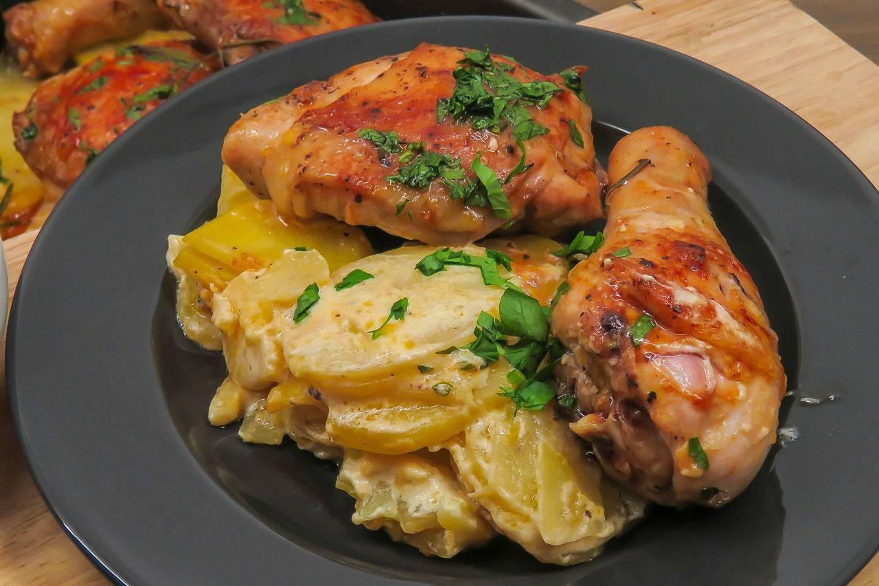 Курица с грибами в сливочно-горчичном соусе