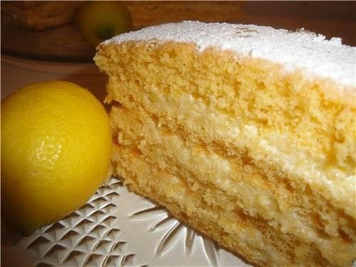 Торт с лимонным кремом и итальянской меренгой
