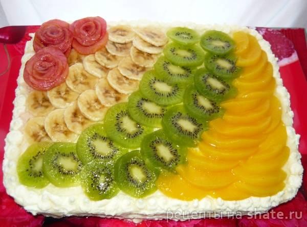 Бисквитный торт с творожным кремом и персиками