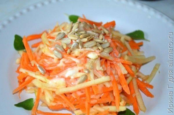 Два морковно-яблочных салата с семечками