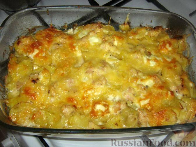 Картофельная запеканка с сыром и луком классическая