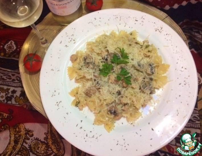 Обед за 15 минут от джейми! фарфалле с грибами и салат
