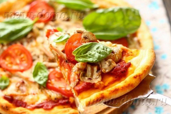 Домашняя пицца с начинкой из курицы и грибов