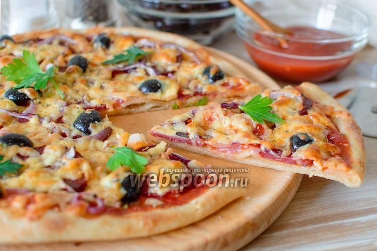 Пицца с колбасой и сыром  домашняя  81 домашний вкусный рецепт