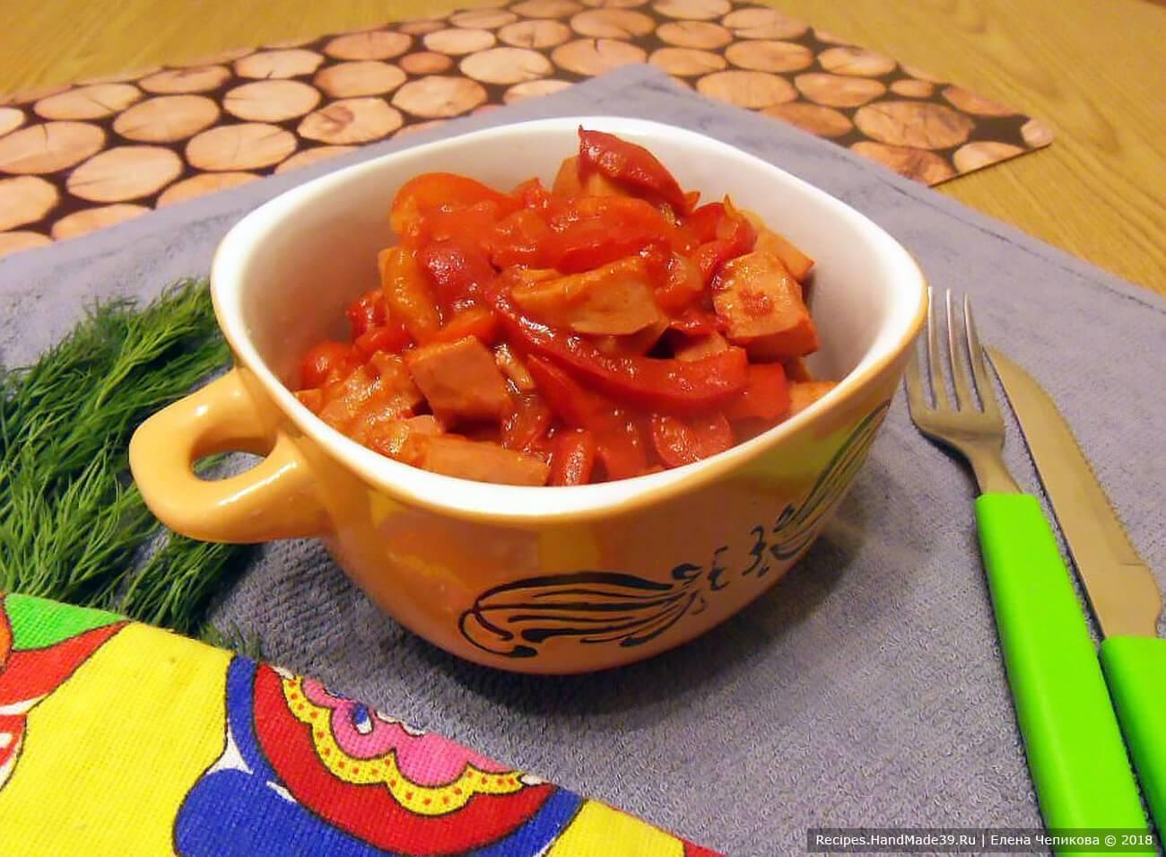 Жареная домашняя колбаса с луком