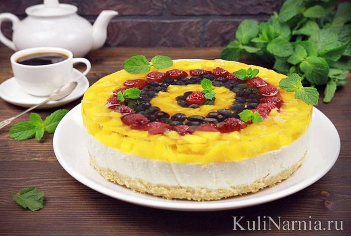 """Бисквитный торт с персиками """"проще простого"""""""
