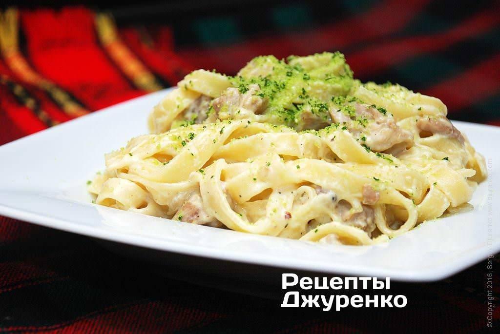 Маринованная курица с фетучини и овощами, рецепт с фото