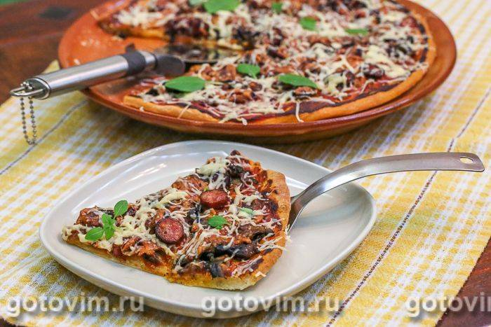 Пицца на сковороде за 10 минут с ветчиной и грибами