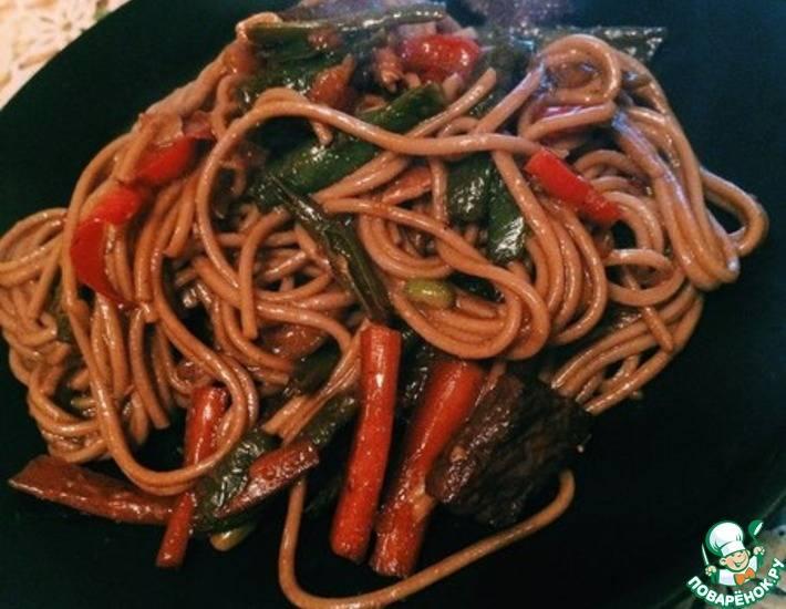 Лапша с мясом и овощами